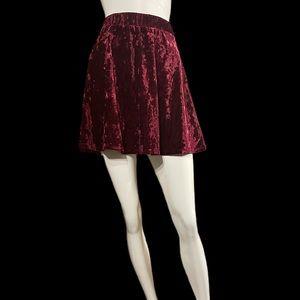 Maroon velvet mini skirt